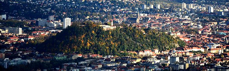 Der Grazer Schloßberg vom Plabutsch aus fotografiert