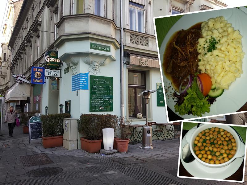 Backerbsensuppe und Zwiebelrindschnitzerl mit Spätzle als Mittagsmenü im Gasthaus Postl um 7,40 €